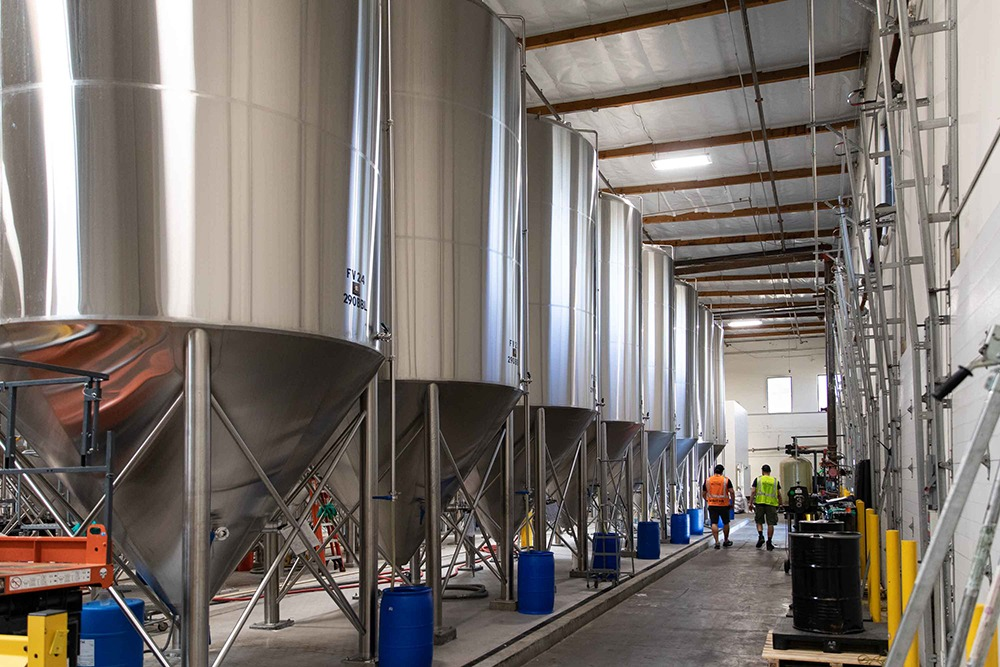 Fermentation tanks at our production brewery